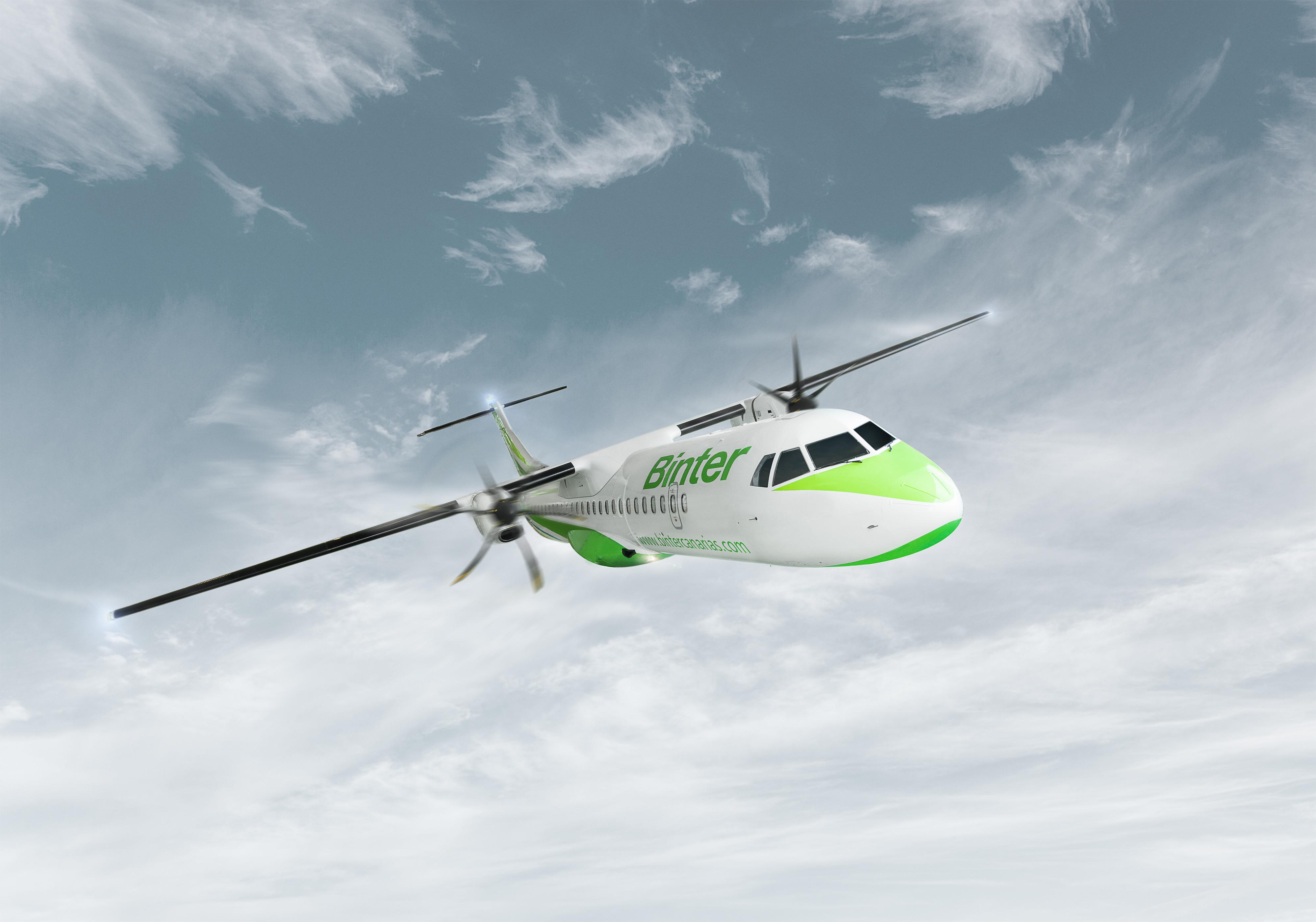 Representacion de un avión Binter en vuelo